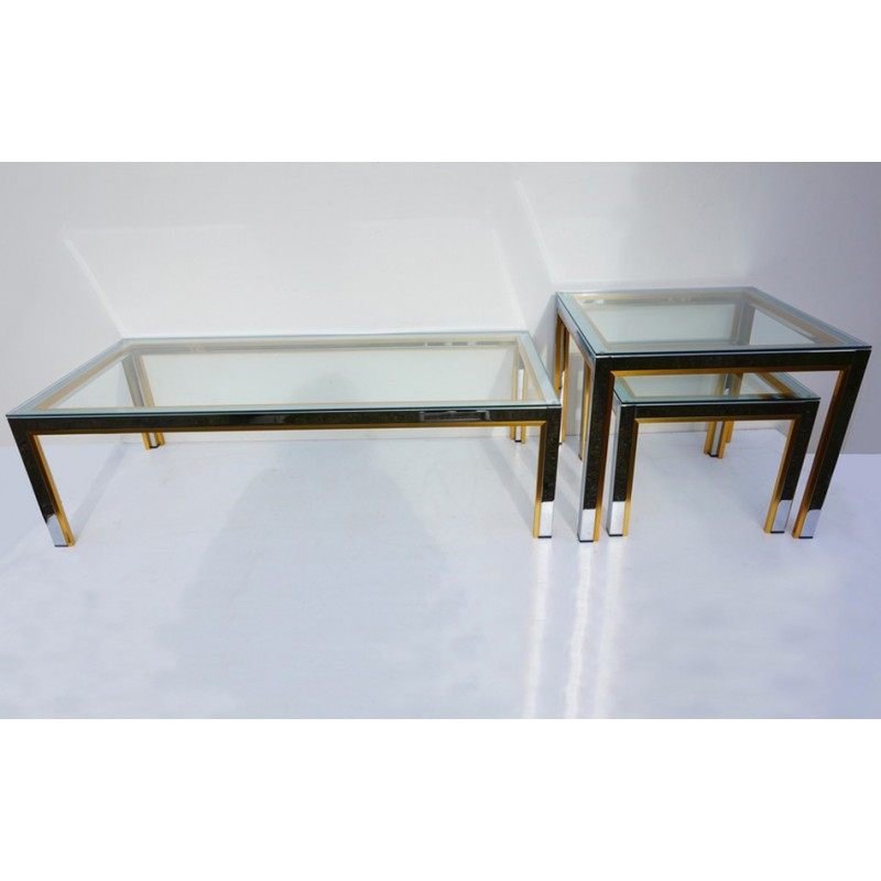 Gold And Chrome Coffee Table Set 1970s