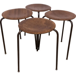 Mid-century set of four three-legged stools - 1960s