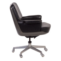Wilkhahn Executive Office Chair in Black Leather - 1970s