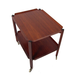 Brown teak serving table - 1950s