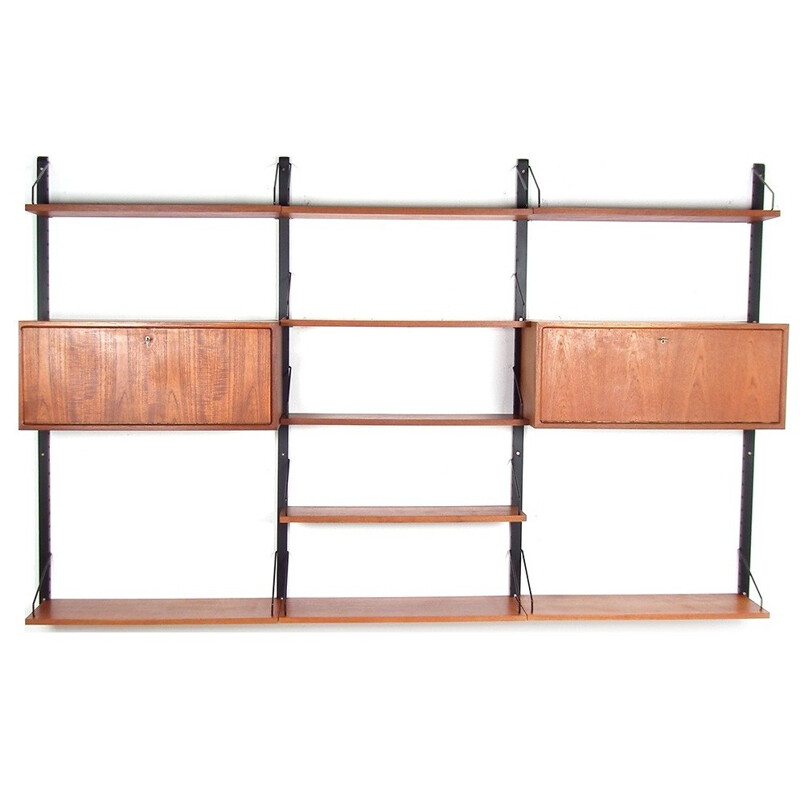 Wall unit in teak with several shelves and two storage compartements by Poul Cadovius - 1950s