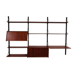 Wall Unit in teak with several shelves by Louis Van Teeffelen for WéBé - 1950s