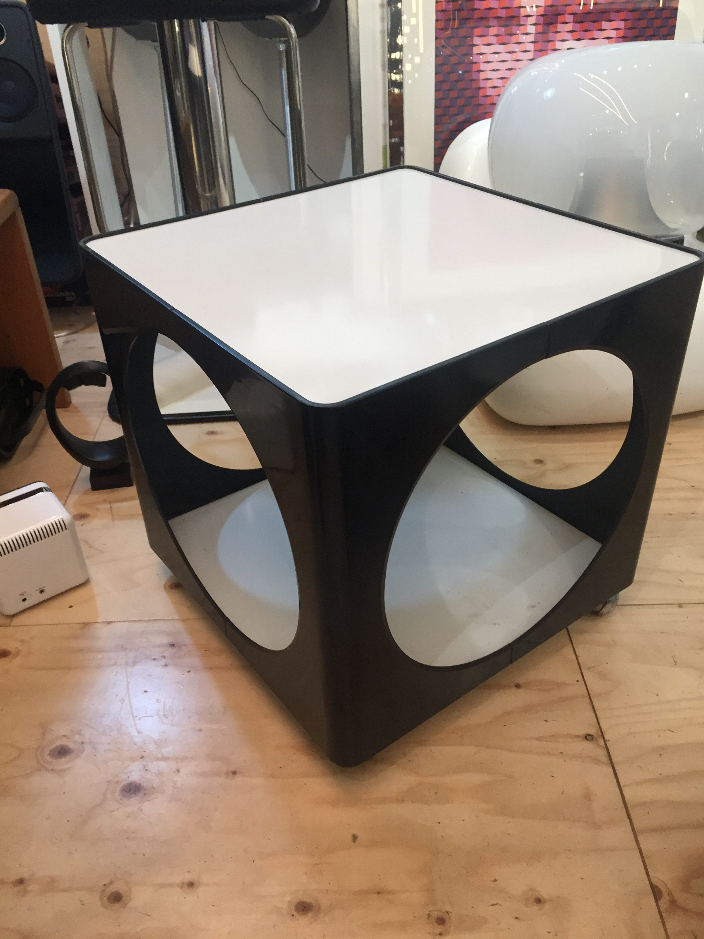 Low Black And White Plastic Table   1960s. Previous Next