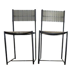 "Alias ""Spaghetti"" black lacquered and pvc chairs, Giandomenico BELOTTI - 1990s"