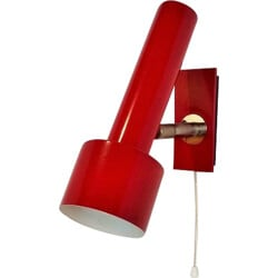 Red lacquered metal sconce - 1950s