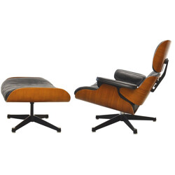 """Lounge chair"" rosewood and black leather, Charles & Ray EAMES - 1950s"