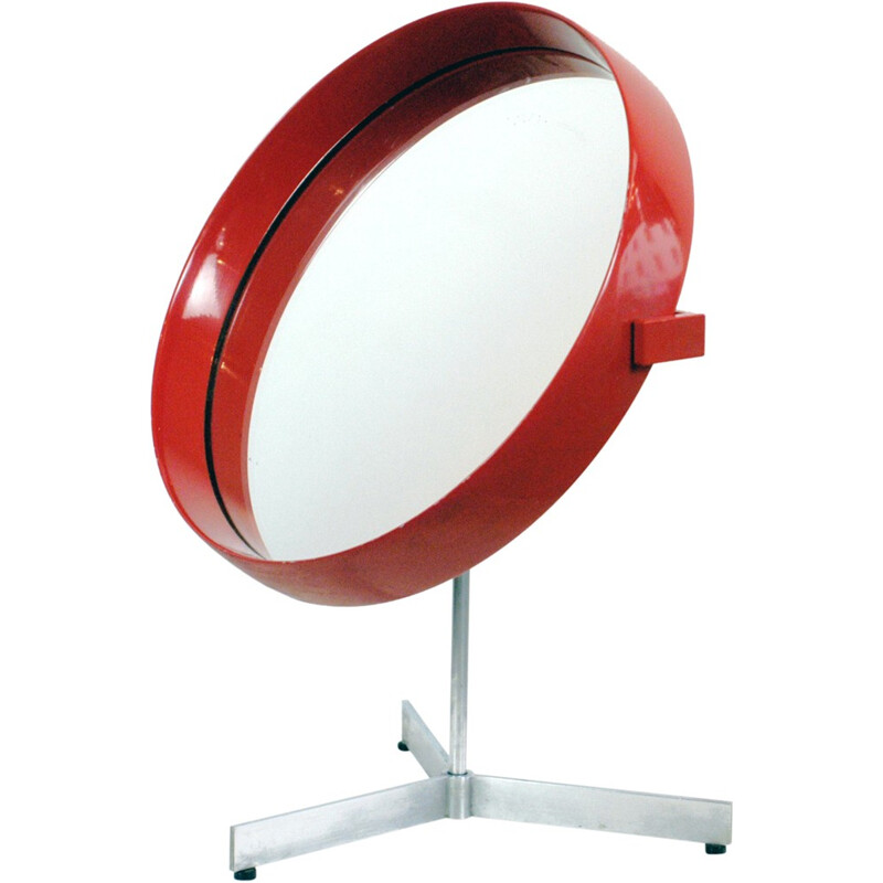 Red Laquered table mirror by Uno & Östen Kristiansson for Luxus - 1960s