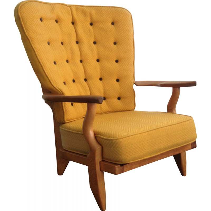 "Yellow ""Grand repos"" armchair GUILLERME et CHAMBRON - 1960s"