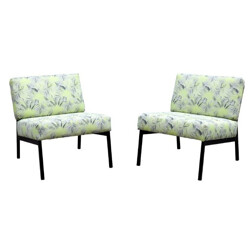 Pair of armchairs with tropical pattern - 1950s