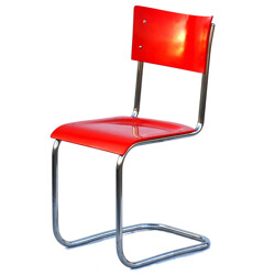 Red industrial chair with chrome piping - 1960s