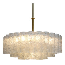 Doria chandelier in brass and glass - 1960s