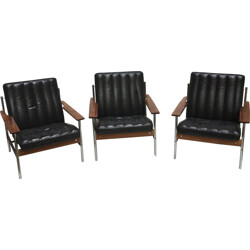 Set of 3 armchairs in leather and Rio rosewood by Sven Ivar Dysthe - 1960s