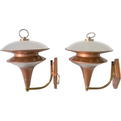 Pair of Sconces in copper and glass - 1960s