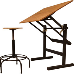 Drawing table and its vintage stool in steel and wood - 1960s