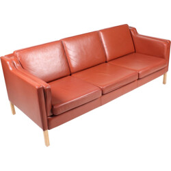 Red Danish Three-Seater Leather Sofa from Stouby - 1980s