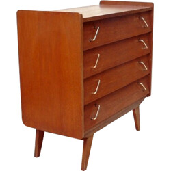 Solid wood chest of drawers with compas feet - 1960s