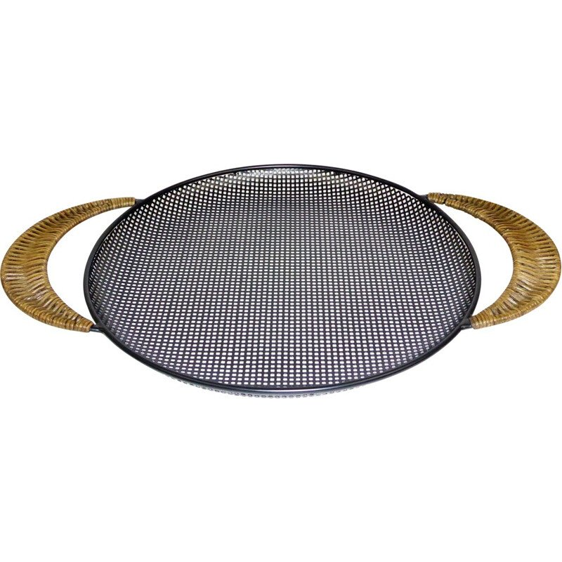Round black tray with rattan handles - 1950s