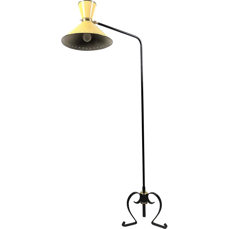 "R.Lunel ""diabolo"" yellow floor lamp with black metal lacquered legs by René Mathieu - 1950s"