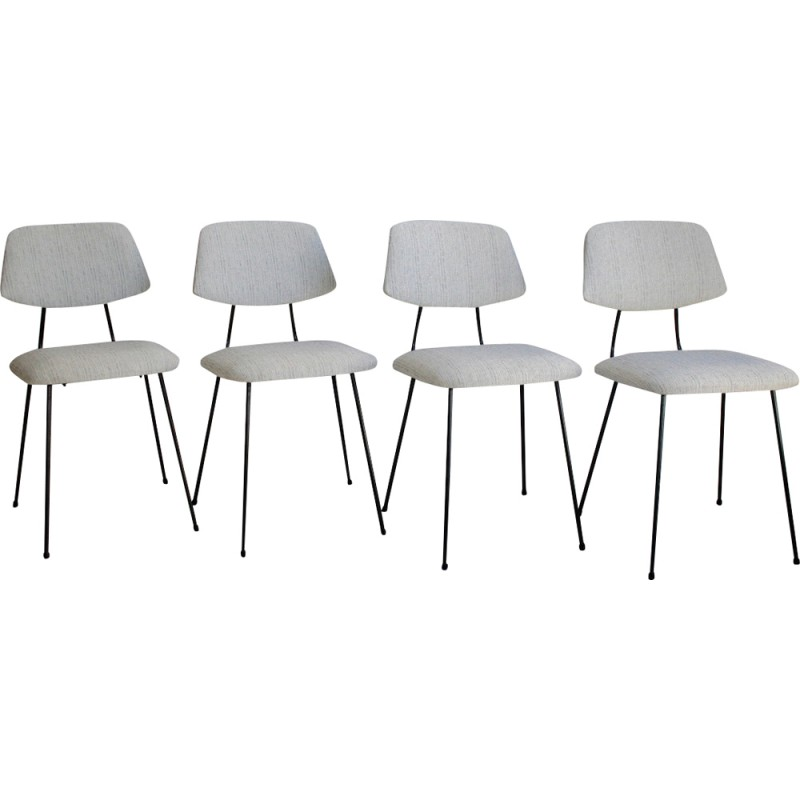GISPEN Set of 4 grey chairs in metal and fabric, Wim RIETVELD and Dick Cordemeyer - 1950s