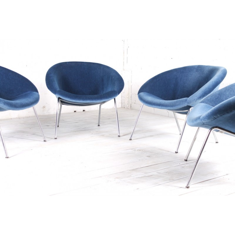 Walter Knoll Design Fauteuil.Blue Velvet Easy Chair Model 369 Produced By Walter Knoll 1950s