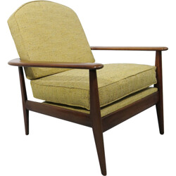Yellow scandinavian armchair in wood and fabric - 1960s
