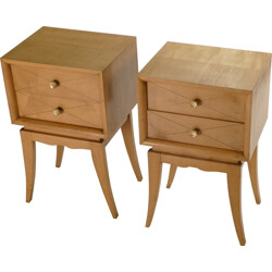 Pair of bedside tables in brass by Suzanne Guiguichon -1950s