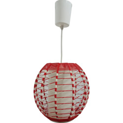 DDR germany red & white hanging lamp - 1960s