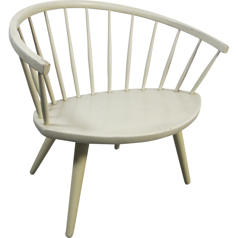 White Arka Chair by Yngve Ekstrom for Stolfabriks AB - 1950s