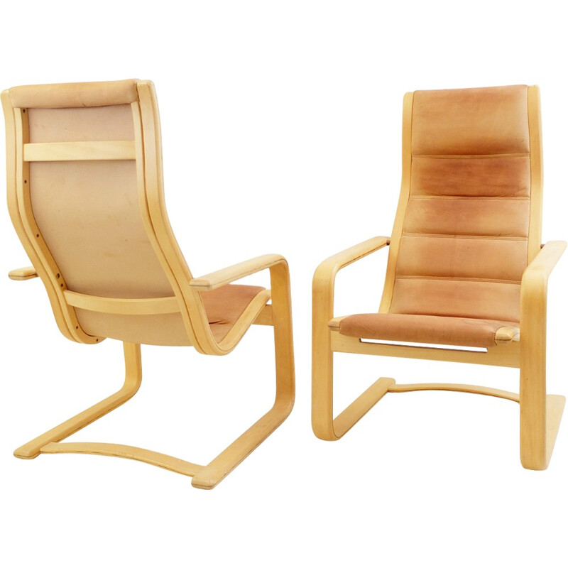 "Pair of armchairs ""lamello"" Yngve EKSTRÖM - 1970s"