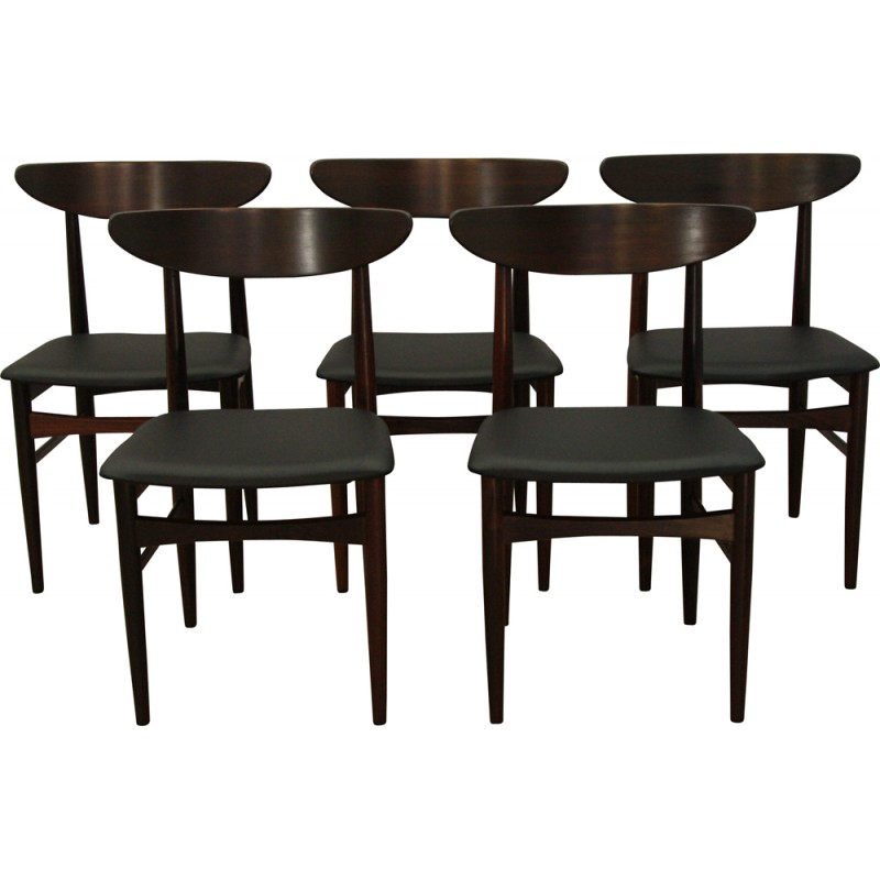 Set Of 5 Dining Chairs In Rosewood By Skovby   1960s