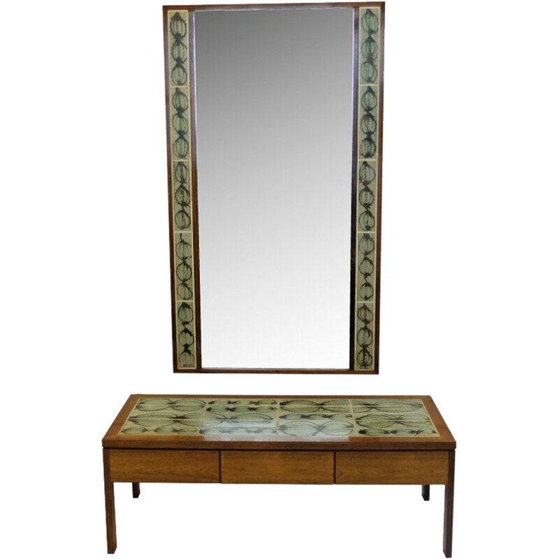 Coffee table and mirror L. Hjorth - 1950s