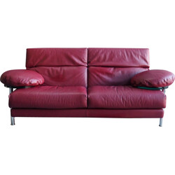 Red leather Arca sofa by Paolo Piva for B&B Italia - 1980s