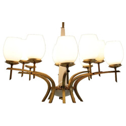 Mid-Century Brass and Opaline Glass Chandeliers - 1960s