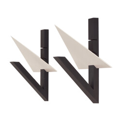 Pair of black wall lights in iron by Mario Botta - 1980s