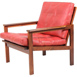 "Red ""Capella"" armchair in rosewood and leather by Illum Wikkelsø for Eilersen - 1960s"
