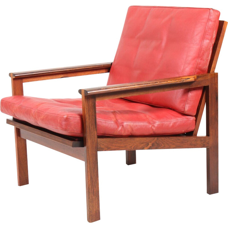 """Red """"Capella"""" armchair in rosewood and leather by Illum Wikkelsø for Eilersen - 1960s"""
