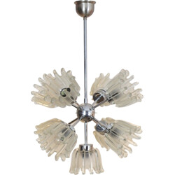 Chromed Metal and Frosted Tulip Glass Chandelier by Doria - 1960s