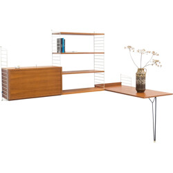 String Design AB white wall unit in teak and metal by Nisse & Kajsa Strinning - 1950s