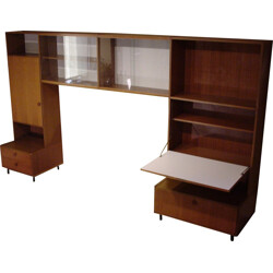 Brown bookcase in teak produced by BEHR - 1960s