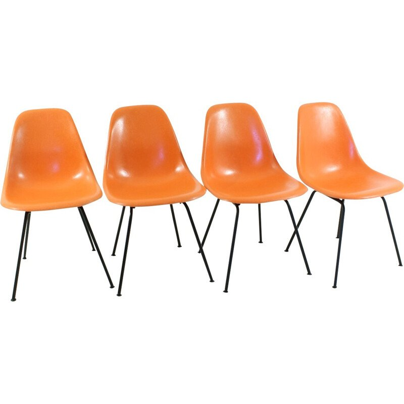 Set of 4 orange side chairs by Charles & Ray Eames for Herman Miller - 1960s