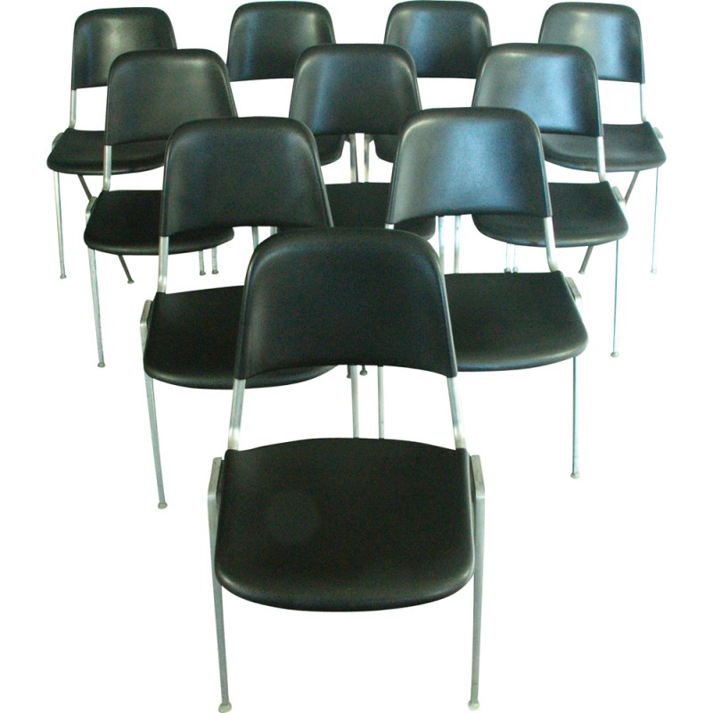 Set Of 10 Stacking Chairs In Alloy From D. ALBINSON For Knoll Int.