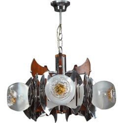 Chandelier in metal and Murano glass - 1970s