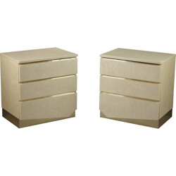 Pair of two bedside chests of drawers by Jean-Claude Mahey & Eric Maville - 1980s