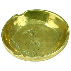 Solid Bronze Ashtray with Vegetal Pattern - 1950s