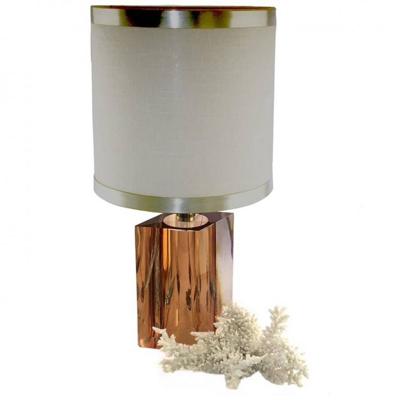 Resine Lamp with Wheat Inclusions by Pierre Giraudon - 1970s