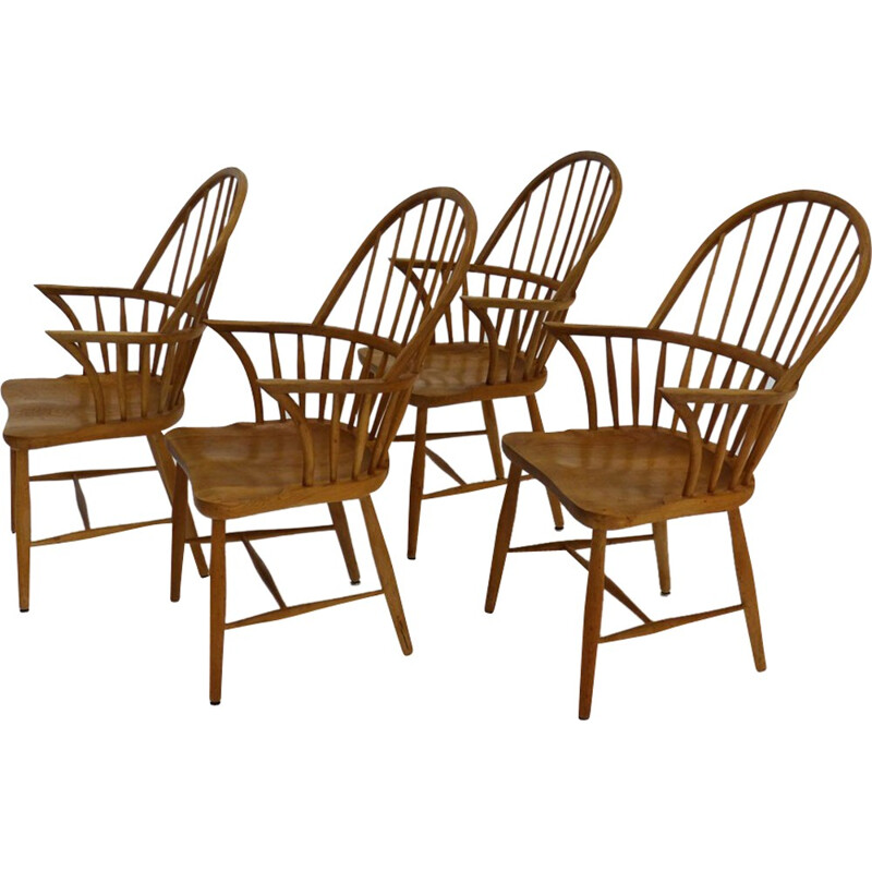 Set of 4 Windsor chairs CH18A by Frits Henningsen - 1950s