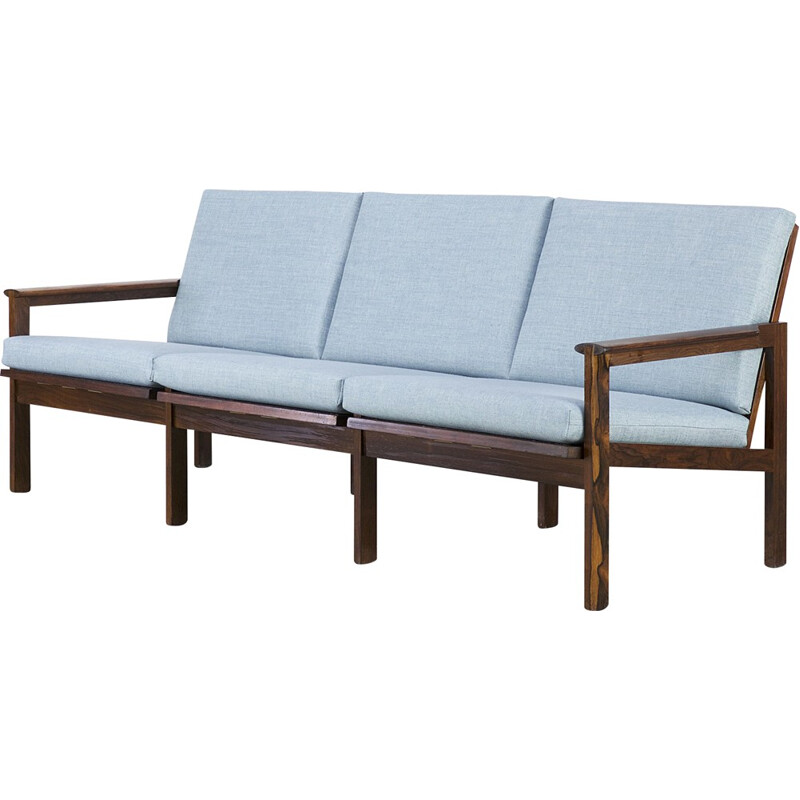 3-seater blue rosewood sofa by Illum Wikkelsø for Niels Eilersen - 1960s