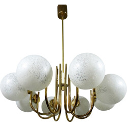 Golden chandelier in copper and glass - 1960s