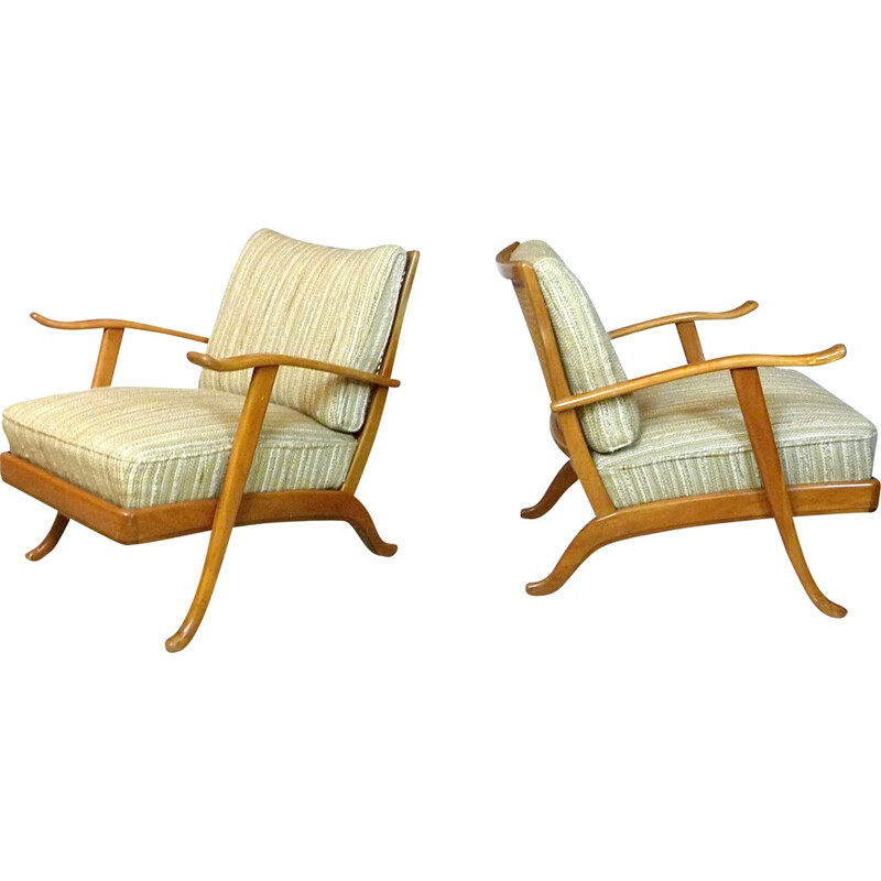 Pair of beige woolen armchairs in wood by Wilhelm Knoll - 1960s