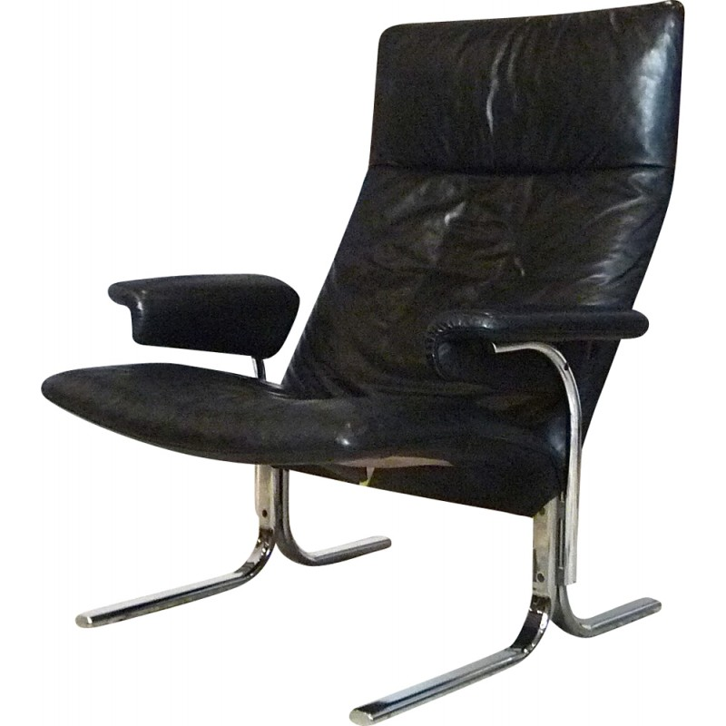 Black lounge chair in leather model Swiss DS-2030 by Hans Eichenberger for De Sede - 1980s